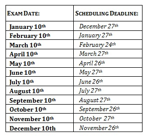 CHP Exam Dates & Deadlines